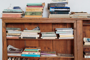 Books stacked on wooden shelves