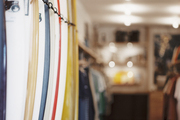 Surfboards on display in a retail environment