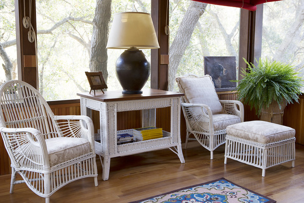 Porch - A screen porch with wicker furniture