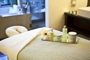 Spa products and a massage table at Napa Valley's Bardessono hotel