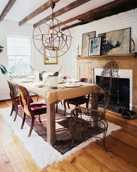 Rustic Dining Room Iron Peacock Host Chairs And Wooden Dining Chairs