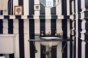 A bathroom with black-and-white stripes and a patterned rug