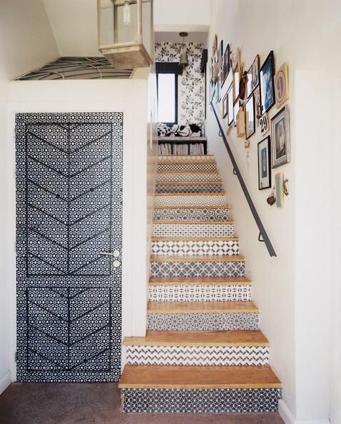 Stenciled stair risers photos design ideas remodel and - Wallpaper for staircase ideas ...