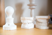 A detail of white teeth and lamp molds.