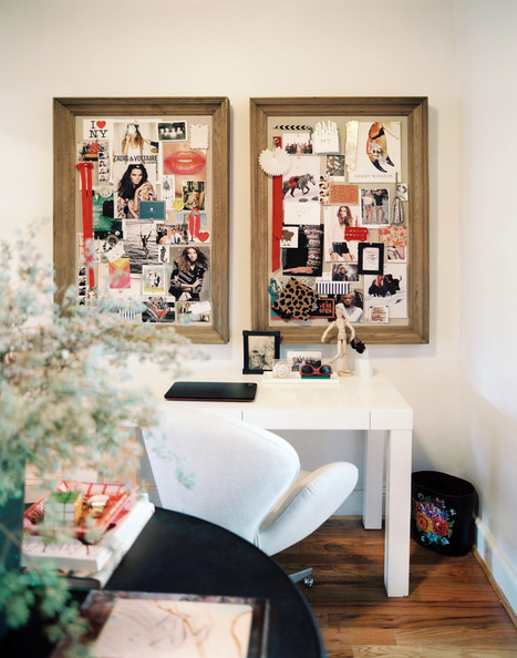 Work Space - A pair of inspiration boards above a white Parsons desk and an upholstered desk chair