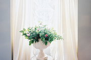 Flowing white curtains