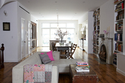 An open floor plan on the first floor of a townhouse in Brooklyn, New York