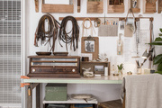 A neutral workspace with rustic and nautical accents.