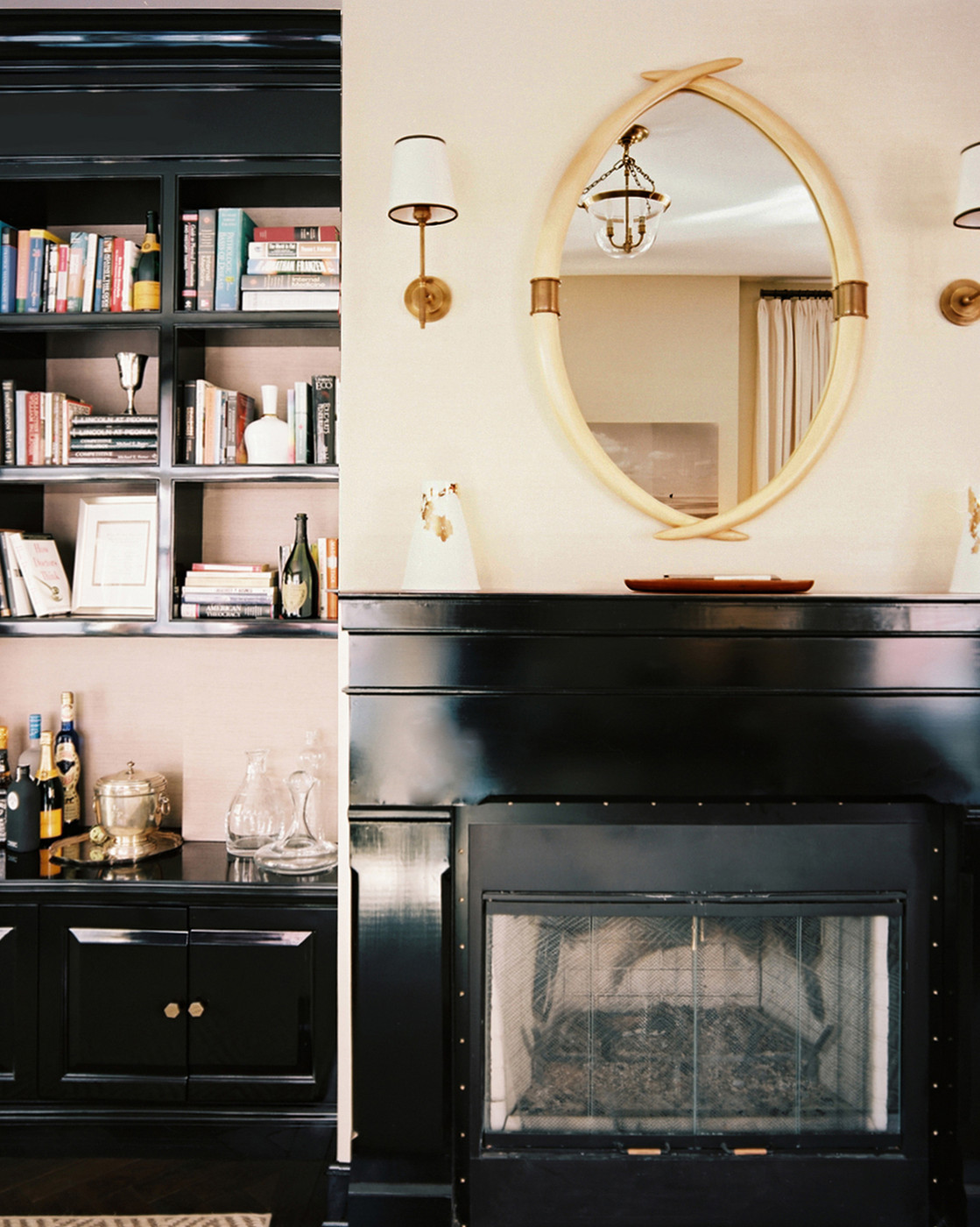 Bookcase Next Fireplace Design Ideas Remodel