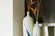 Birds of Paradise in vases at the home of Jordana Brewster