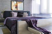 Purple and gray hues compliment a New York City apartment