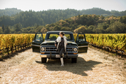 A green pick up truck in the Napa Valley
