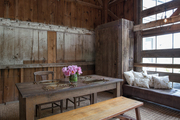 A rustic dining space.