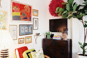 An eclectic grouping of framed art
