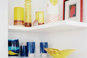 Open shelving decorated with ceramic accessories
