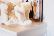 A framed photograph and white coral on a white mantel