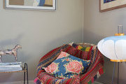 A textile and art filled corner in floral artist Livia Cetti's home