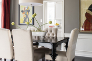 Gray walls line a dining room