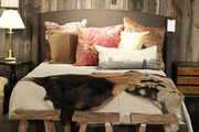 A grouping of antlers hung above an upholstered bed