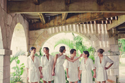 A bridal party in sequined dresses
