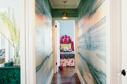 Watercolor wallpaper in a hallway