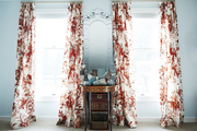 Toile drapery in a bedroom.