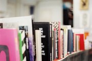 Stacks of books in a retail environment