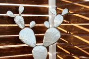 A metal cactus is an artistic play on the desert home.