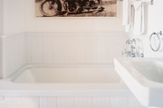 Fine-art photography in a white bathroom