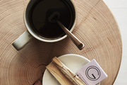 Here is a wooden block used to serve coffee.
