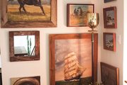 Oil paintings of horses and ships at sea