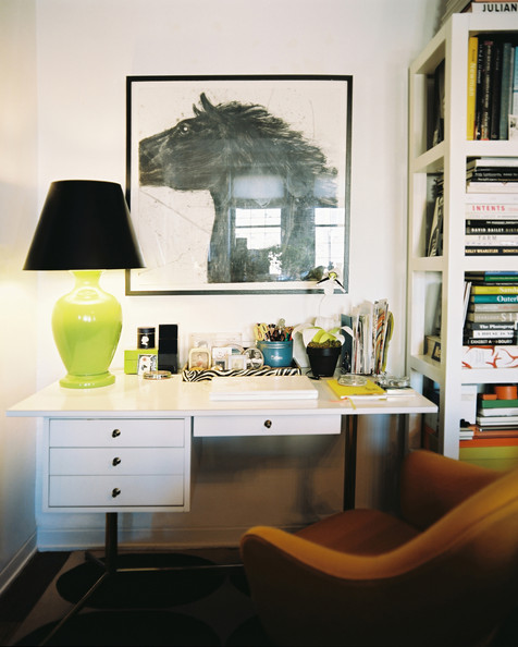 Eclectic Midcentury Work Space