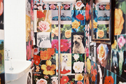 A bathroom lined with inspirational images of flowers and dogs