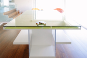 A modern glass ping pong table.