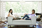 Neka Pasquale and Cindy Crawford sitting in a living room in Malibu