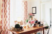 An antique pine desk in a cheerful office