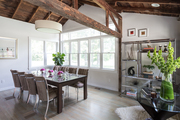 A contemporary dining space in a rustic environment.