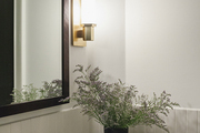 Small plant atop marble sink with gold hardware.