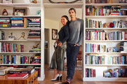 Actress Joy Bryant and her husband Dave Pope in their living room