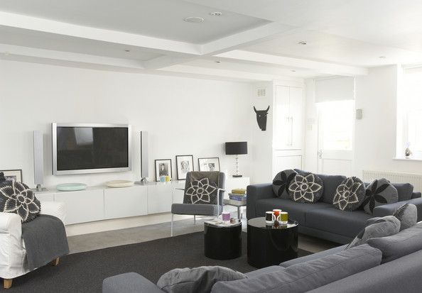 Gray Contemporary Modern Family Room
