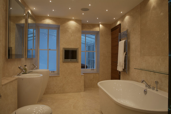 Built in tv screen photos design ideas remodel and for Tv in bathroom ideas