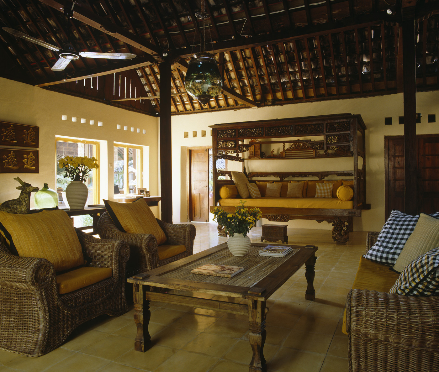 Yellow Country Family Room Living Room Design Ideas Lonny