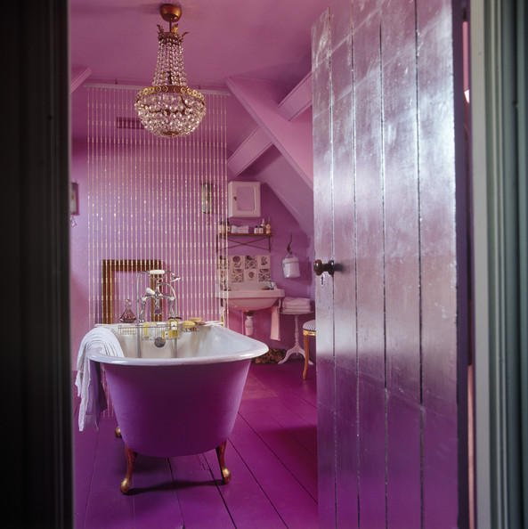 Pink bathroom photos 28 of 32 lonny Purple and gold bathroom accessories