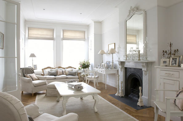 Delightful White Traditional Living Room
