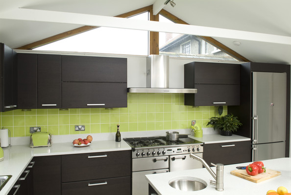 Green backsplash photos design ideas remodel and decor Modern green kitchen ideas