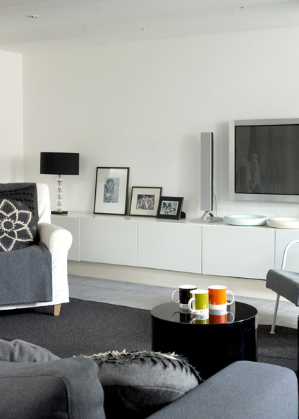 Gray contemporary modern family room living room design ideas lonny - Family living room ideas ...