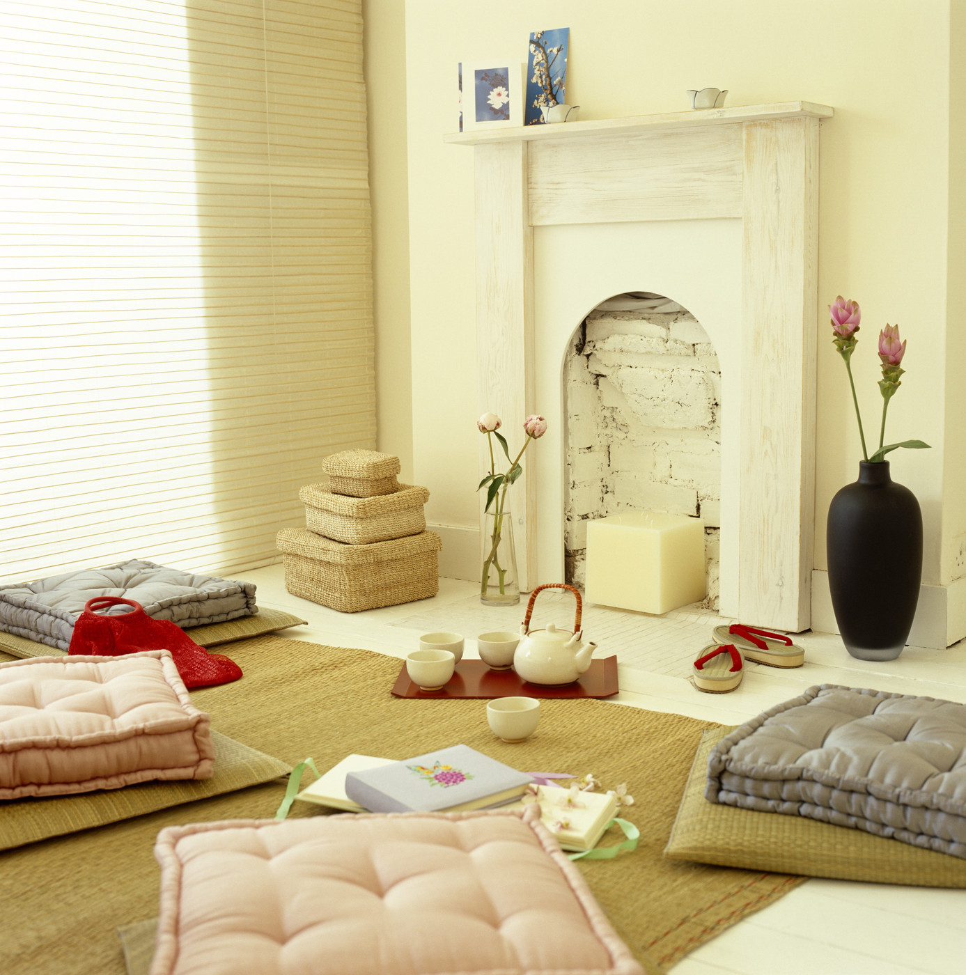 Gray Pink White Asian Living Room Living Room Design