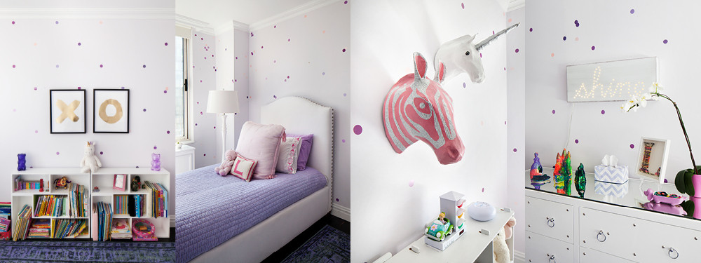 Daughter Layla's favorite shade of purple pervades her light and bright bedroom. The spotted walls were created with adhesive wallpaper, hand painted and cut into circles.
