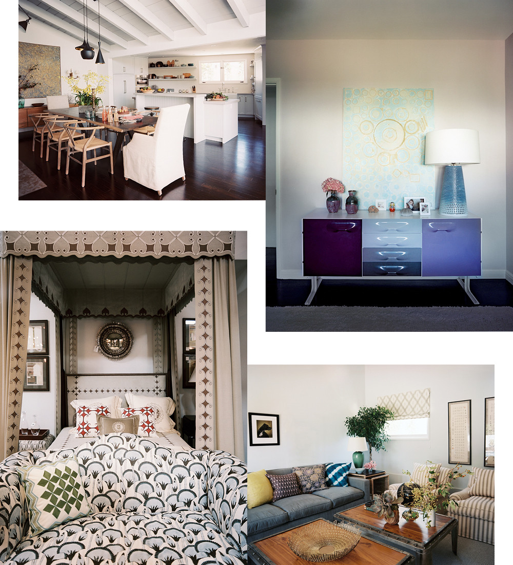 Clockwise from top left: Lucas and Chilcoat gutted the antiquated kitchen, fully integrating this once dark and enclosed space into the dining room; to inspire its young inhabitant, Lucas and Chilcoat infused the room with vivid color; in the den, plush, oversized pieces create a restful retreat; Harbinger, Lucas and Chilcoat's showroom in Los Angeles' La Cienega Design Quarter, is a lively resource for textiles and home furnishings.