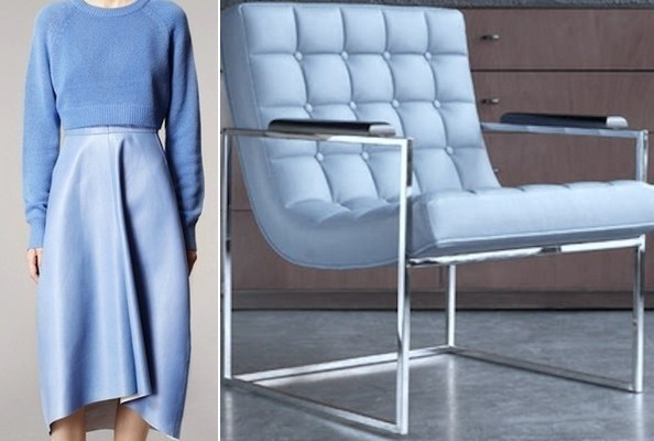 Baby Blue Leather Is The Anchoring Material In An Offhandedly Elegant Look  From Reed Krakoffu0027s Resort 2014 Collection And This Modern Milo Baughman  Chair, ...